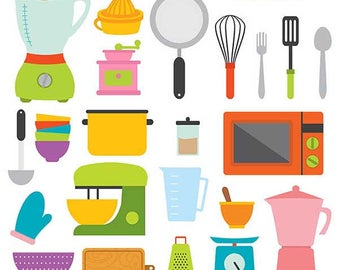 Cute kitchen vector,  Digital Clipart - Instant Download - EPS, PNG files included