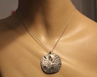 SALE! 1980s Pewter Sand Dollar Pendant Necklace Deadstock Vintage