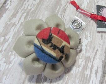Tan Brown Retractable Badge Reel, Fabric Flower Badge Reel, Lanyard, Polka Dot ID Badge Holder, Nurse ID Holder, Student ID