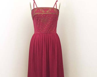 ON SALE Vintage Alfred Shaheen Cranberry and Gold Red Pleat Skirt Dress