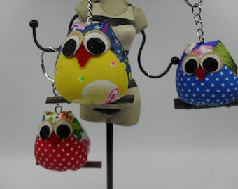 Tiny Fabric Owl Key chains