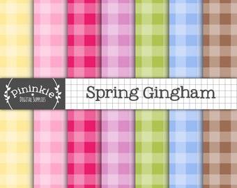 Gingham Digital Paper, Easter Digital Paper, Instant Download, Commercial Use, Pink Digital Paper, Scrapbook Paper,Spring Digit