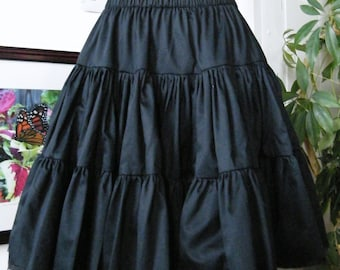 "Gothic Lolita Petticoat - Steampunk Black Cotton Petticoat Skirt - ""Cotton Petti-Skirt"" Custom to Order - Petite to Plussize"