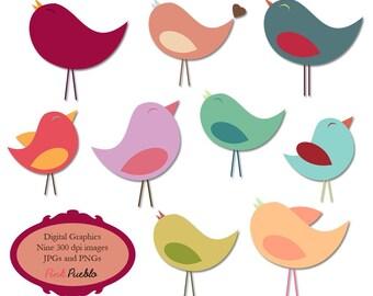 Birds Clip Art Clipart Beautiful Birdies in Pastels - Commercial Use