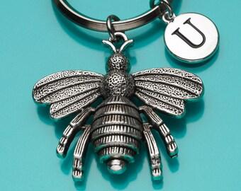Bee Keychain, Big Bee Key Ring, Bumble Bee Keyring, Initial Keychain, Personalized Keychain, Custom Keychain, Charm Keychain, 837