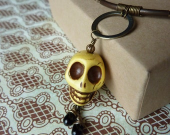 Yellow Day of the Dead Skull Necklace with Brass