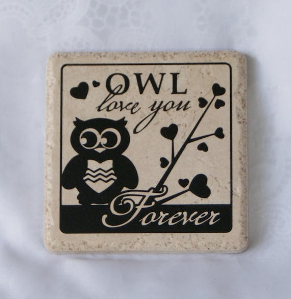 OWL LOVE - Coasters - Romance - Engagement - Wedding - Bridal Shower Gift - Love - Ceramic Coaster Set