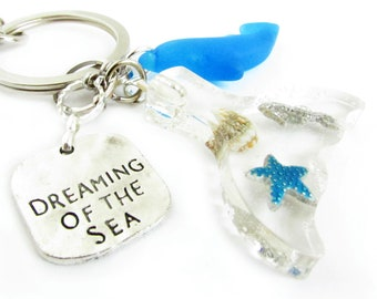 Rear View Mirror Charm, Dolphin Car Dangle, Seaglass Car Charm, Car Accessories, Whale Tale Car Charm, Rearview Mirror Charm, Charm for Car