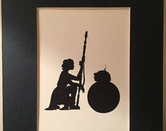 Star Wars Rey and BB-8 Silhouette