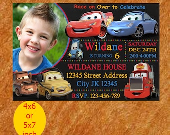 Cars Birthday Invite, Disney Cars Invitation, Cars Birthday Invitation, Cars Party Invites, Cars Lightening McQueen Invitation