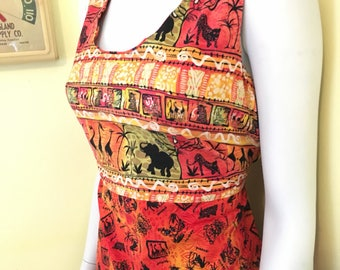 Vintage, Safari Print Cotton, Maxi Dress