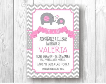 Digital's elephants for Baby Shower invitation