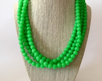 Neon Lime Green Chunky Statement Necklace