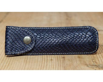 Navy effect snake leather pen case