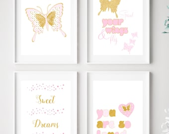 Butterfly Art Prints, Girls Room Butterfly Art, Butterfly Art, Girls Room Decor, You Are Loved Wall Art, Pink Gold Nursery Decor