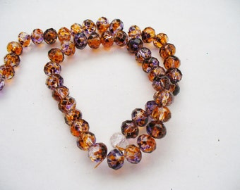 Transparent Painted Beads with Spots of Orange, Blue and Brown Faceted Rondelles 6x4MM