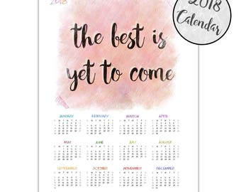 New Year's Eve part decorations, 2018 printable calendar, 2018 wall calendar, Quote 2018 calendar, 2018 yearly calendar, Desk calendar 2018