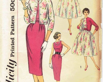 50s Dress and Jacket Pattern Simplicity 2407. Bateau Neck Swing Dress or Sheath Dress, Kimono Sleeve Jacket. Size 16 Bust 36 inches