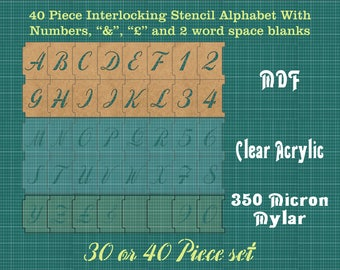 40mm Interlocking Alphabet Stencil PLUS Numbers PLUS -spacers and More ISA002