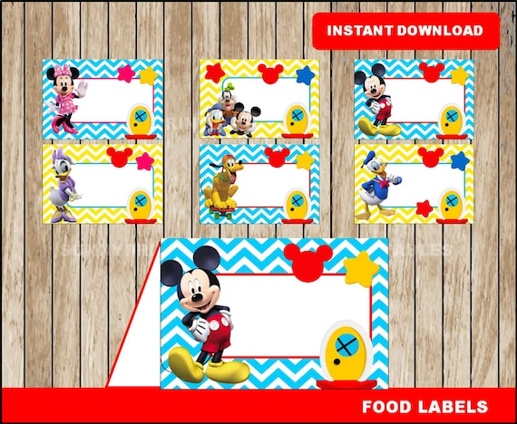Mickey Mouse food labels printable Mickey Mouse Clubhouse