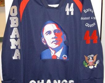 Barack Obama Embroidered Presidental History Jersey XL