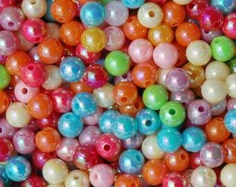 6mm Round Beads AB Multi Colors, 1000pc