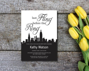 Bachelorette Invitation, Last Fling Before The Ring, New York City Skyline, DIY, Template, EDITABLE PDF, Printable Instant Download E95A
