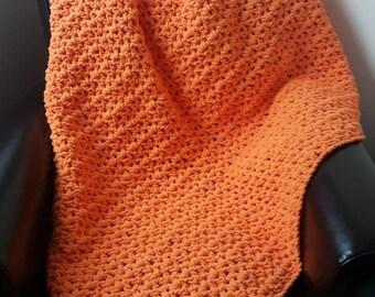 Orange chunky blanket,afghan, throw