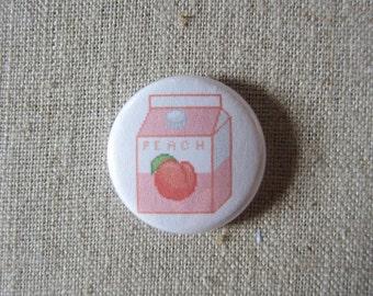 """Peach Milk Carton pin 1"""" pinback button"""