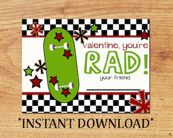 INSTANT DOWNLOAD - Blank Valentine - Skateboard - Mini Valentine