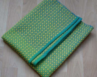 Made to OrderHand Woven Baby Blanket, Baby Shower Gift, Yellow Green Cotton Blanket, Crib Blanket, Nursery Bedding, New Baby