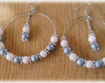 Big hoop earrings with Pearl gray and light pink, pendulum inside