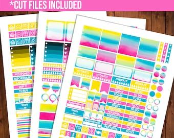 Rainbow printable stickers, Erin Condren horizontal planner stickers, Silhouette stickers, Printable planner - STC032