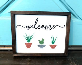 Welcome Potted Plants & Cactus Sign