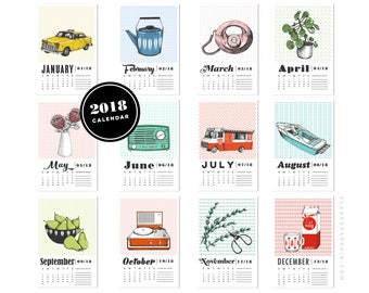 SALE 2018 Wall Calendar - Screen-printed