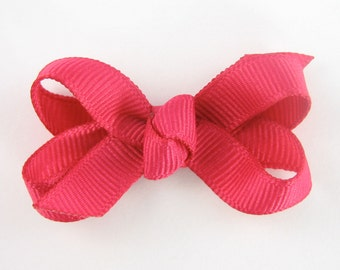 Baby Hair Bow in Shocking Pink - Extra Small Boutique Bow On Mini Snap Clip for Fine Hair Newborn to Toddler - Non Slip Barrette mm