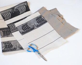 Pure linen remnants with ships, natural linen fabric, rustic linen scraps, fabric bundle, pure linen, vintage linen for crafts, linenforest