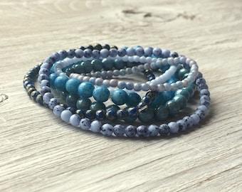 DIY beads - Glass Bead Strands - 6 strands of Czech glass beads Blue and Aqua (ST11)