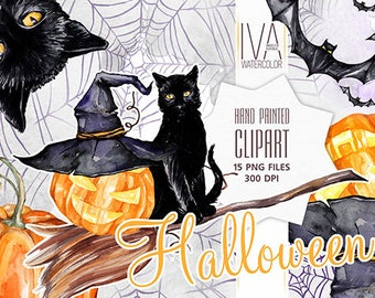 Halloween Clipart, Halloween Scrapbook, Hat, Black cat Clipart, Halloween Party, Bat, Pumpkin , Watercolor Clipart, Halloween watercolor