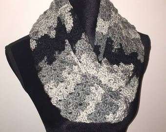 Mixed greys and black infinity scarf