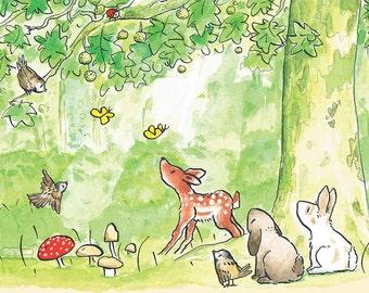 Green Forest illustration | Woods & animals | Postcard for kids | Fairytale |
