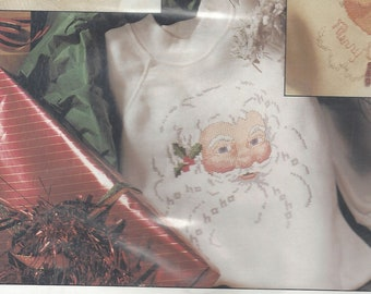 1990s Jolly Old St Nick Holiday Sweatshirt Kit by Vanessa Ann Waste Canvas Kit for Counted Cross Stitch on Sweatshirt NIP Christmas X Stitch