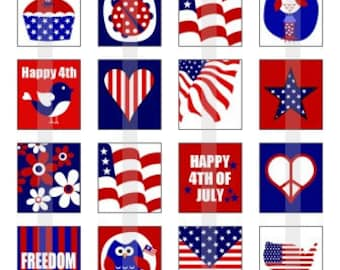 Happy 4th of July - one 4x6 inch digital sheet of scrabble size (0.75 x 0.83 inches) images for scrabble tiles