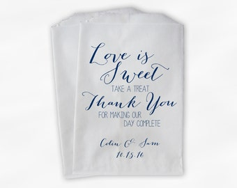 Love Is Sweet Our Day Complete Wedding Candy Buffet Treat Bags - Handwritten Favor Bags in Navy Blue - Custom Paper Bags (0169)