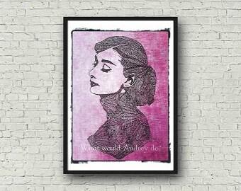 Audrey Hepburn A4 Zentangle Colour Art Zentangle Motivational Print