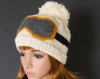 Snowboard Beanie with Ski Goggle Design, Ivory Pom Pom Beanie, Handknit Hat, Winter White Knit Beanie with Snowboard Goggle Design