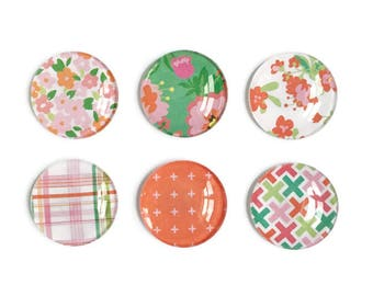 Floral Magnets + Tin / Fridge Magnets / Glass Magnets / Refrigerator Magnets / Decorative Magnets / Kitchen Decor / Locker Magnets