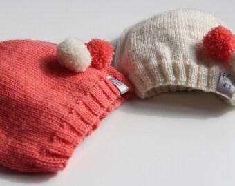 Hand knitted baby hat / knitted baby hat /hand knitted hat pom pom/ baby girl hat