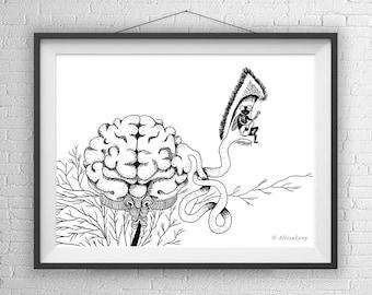 Brain Art Print, Brain Illustration, Brain Drawing, Geeky Gift, Weird Art, Brain Gift, Brain home Decor, Brain office decor, brain wall art