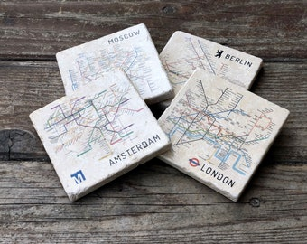 Mix and Match Metro Maps Coaster Set Stone Coasters Drink Coasters Map Art Map Gift Souvenir Coasters Travel Souvenir : table coasters for drinks - pezcame.com